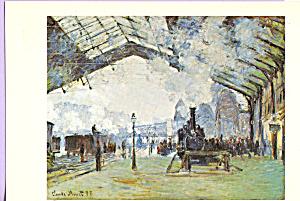 Old St Lazare Station Paris Claude Monet Postcard p21803 (Image1)