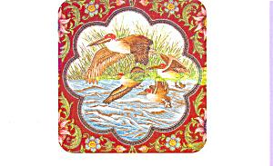Petrel crusing at Sea Silk Embroidery Postcard p22213 (Image1)