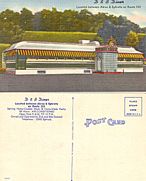 D and B Diner ,Akron Ephrata, PA Postcard (Image1)