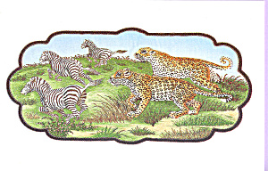 Embroidery of a Leopard and Leopardess after Zebra (Image1)