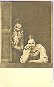 A Girl and Her Duenna Murillo Postcard p23271 (Image1)