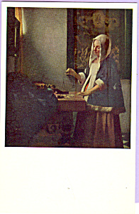 A Woman Weighing Gold Vermeer Postcard p23327 (Image1)
