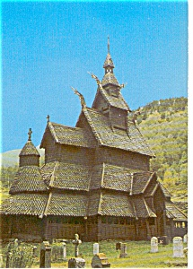 Borgund Stave Church Norway  Postcard p2332 (Image1)