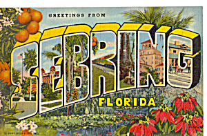 Greetings from Sebring Florida Big Letter Postcard p23422 (Image1)