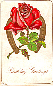 Rose and Horseshoe Birthday Greetings p23845 (Image1)