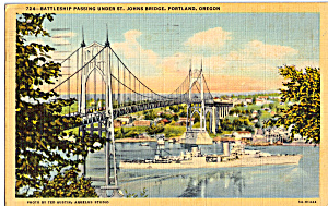 Battleship under St John s Bridge Portland,Oregon p23918 (Image1)