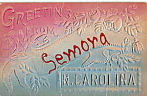 Greetings from Semora, North Carolina Postcard p23936 (Image1)