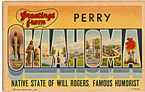 Greetings From Perry Oklahoma Big Letter P23974