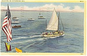 Afternoon Sail Sailboat Postcard p2407 (Image1)