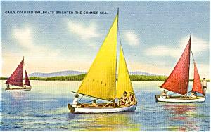 Gaily Colored Sailboats Postcard p2408 (Image1)