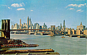 Lower Manhattan Skyline Showing Brooklyn Bridge New York City p24252 (Image1)
