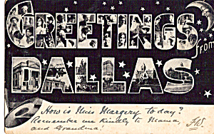 Big Letter Postcard Of Dallas Texas P24306