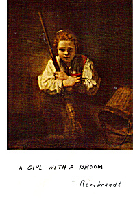 A Girl With A Broom Rembrandt Harrmensz Van Rijn Postcard p24802 (Image1)