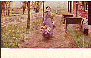 Flower Girl in Holland George Hitchcock Postcard p24858 (Image1)