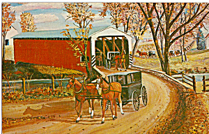 Covered Bridge and Carriages H L Loewen Sr Postcard p24863 (Image1)
