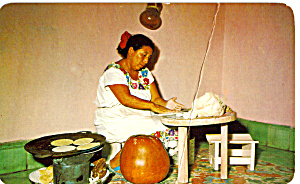 Yucatan Woman Making Corn Tortillas Mexico p24912 (Image1)
