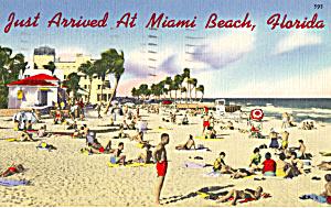 Beach Scene Florida Postcard p25145 (Image1)