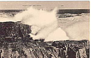 Ocean Surf And Rocks Postcard P25332