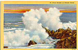 Giant Breaker On The Atlantic Ocean Postcard P25341