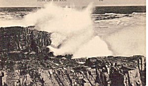 Ocean Surf And Rocks Postcard P25353
