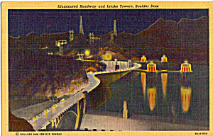 Illuminated Roadway and Intake Towers, Boulder Dam (Image1)
