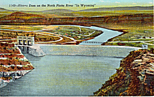 Alcova Dam North Platte River Wyoming Postcard P25382