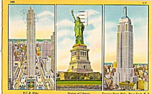 RCA Bldg Statue of Liberty and Empire State Bldg New York City p25384 (Image1)