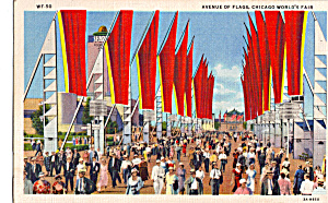 Avenue of Flags Chicago World s Fair Postcard p25400 (Image1)
