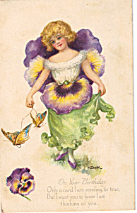 Artist M. Dulk Fantasy Flower Girls Pansy