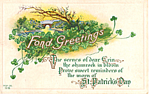 Fond Greetings St Patrick s Day Postcard p25549 (Image1)