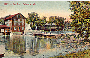 Woolen Mills and The Dam Jefferson Wisconsin Postcard p25576 (Image1)