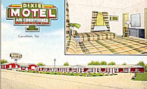 Dixie Motel Carrolton Georgia Postcard p25631 (Image1)