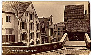 Old Canal  Bruges Picturesque Belgium Postcard p25642 (Image1)