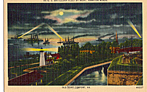 US Battleship Fleet by Night, Hampton Roads VA p25675 (Image1)