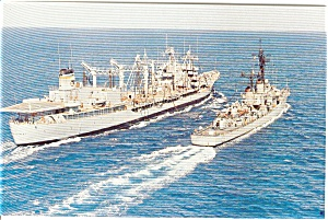 USS Mississinewa  T AO 144 Oiler Postcard p2597 (Image1)