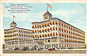 Hotel Monticello Atlantic City NJ Postcard p26032 (Image1)