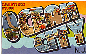 Greetings From, Ocean City New Jersey Big Letter Postcard p26141 (Image1)