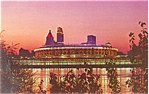 Riverfront Stadium Cincinnati OH at Twilight Postcard p2656 (Image1)