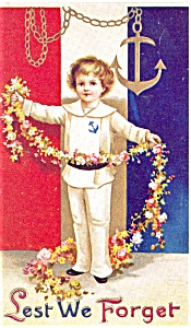 Memorial Day  Least We Forget Postcard p2658 (Image1)