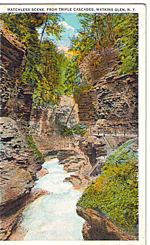 Triple Cascades Watkins Glen New York Postcard p26591 (Image1)