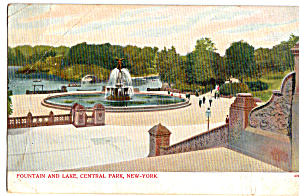 Fountain and Lake, Central Park New York City (Image1)
