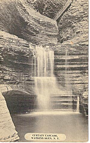 Curtain Cascade Watkins Glen NY Postcard p26771 (Image1)