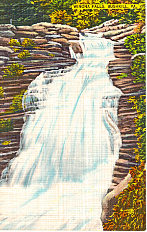 Winoa Falls Bushkill Pennsylvania Postcard p26904 (Image1)
