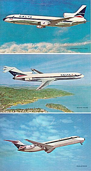 Delta DC-10, B-727 DC-9 Trifold Postcards p26935 (Image1)