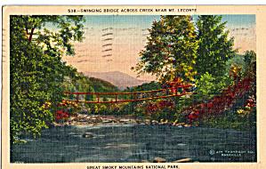 Swinging Bridge Across Creek Near Mt Leconte TN p26978 (Image1)