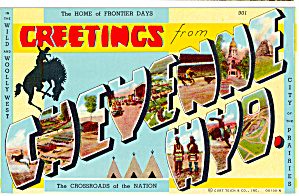 Greetings From Cheyenne Wyoming Big Letter Postcard p27071 (Image1)