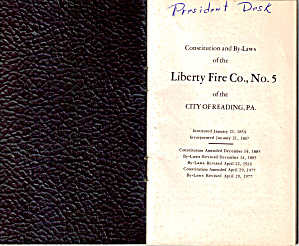 Liberty Fire Co., No. 5, Constitution And By Laws