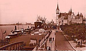Antwerp Belgium Harbor and Steen Castle Postcard p27427 (Image1)