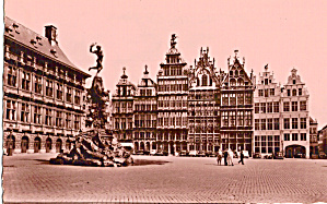 Antwerp, Belgium Market Place And Brabo Fountain