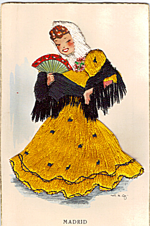 Embroiderd Dancing Girl Postcard P27504